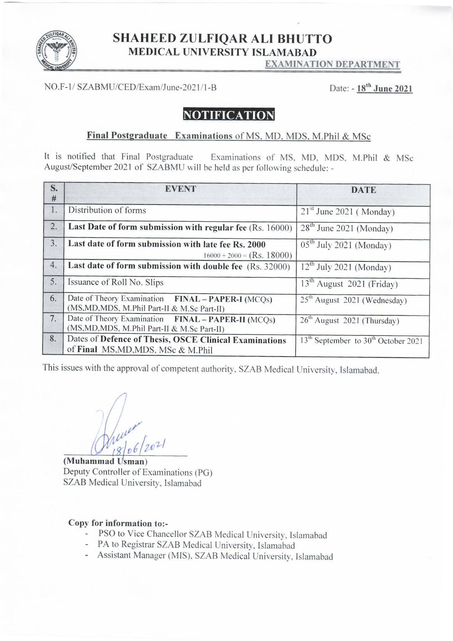 Final postgraduate Examinations of MS, MD, MDS, M.Phil & MSc August/September 2021