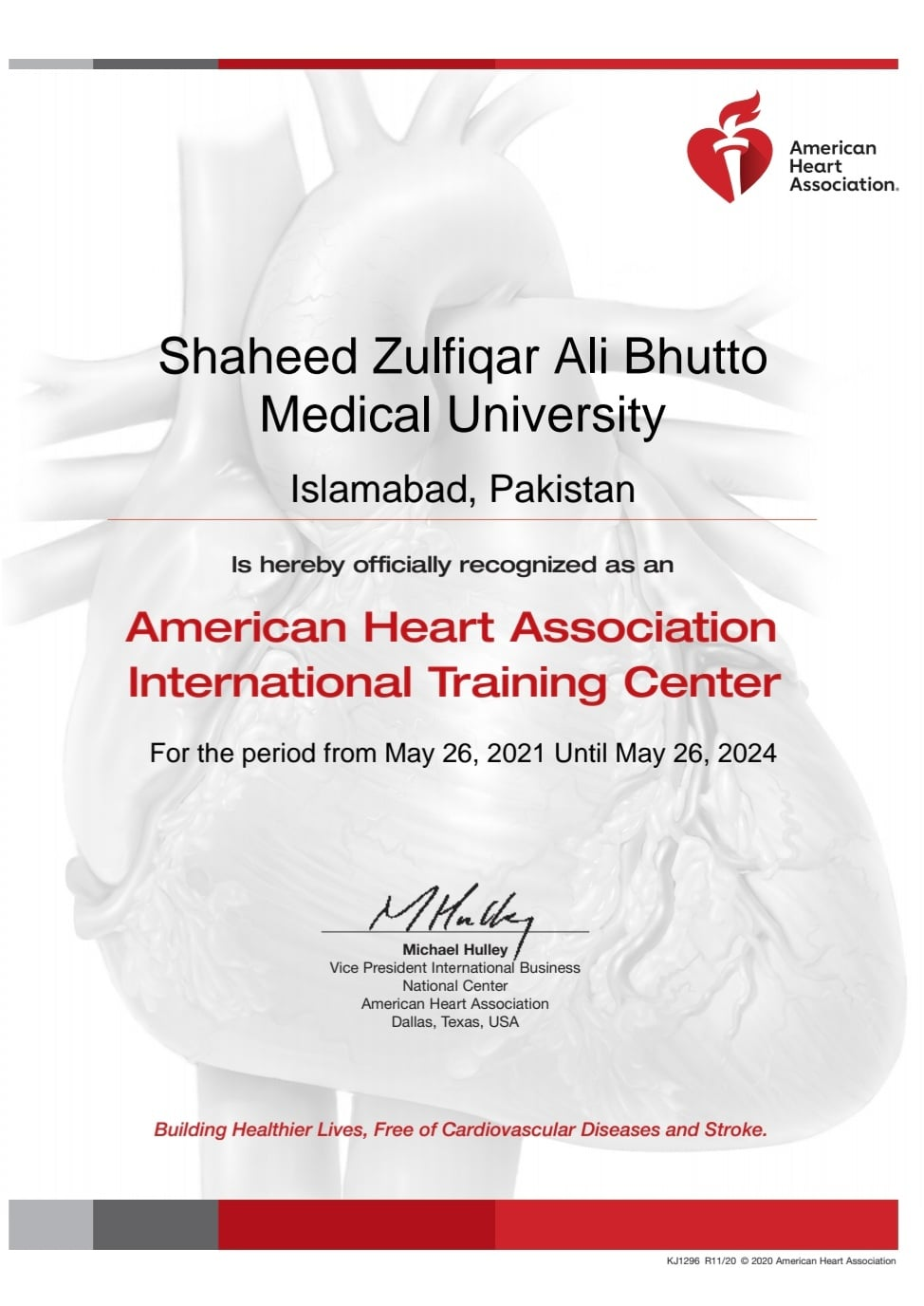 SZABMU is officially recognized as an American Heart Association International Training Center until May, 2024