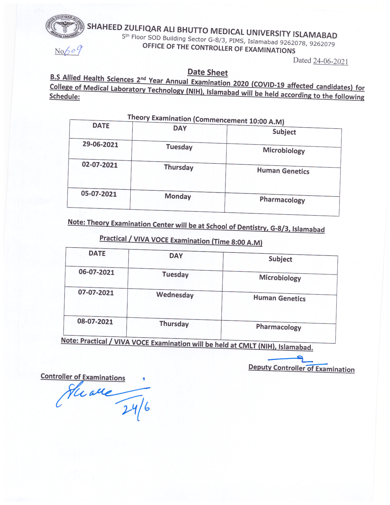 Date Sheet BS Allied Health Sciences 2nd Year Annual Examination 2020