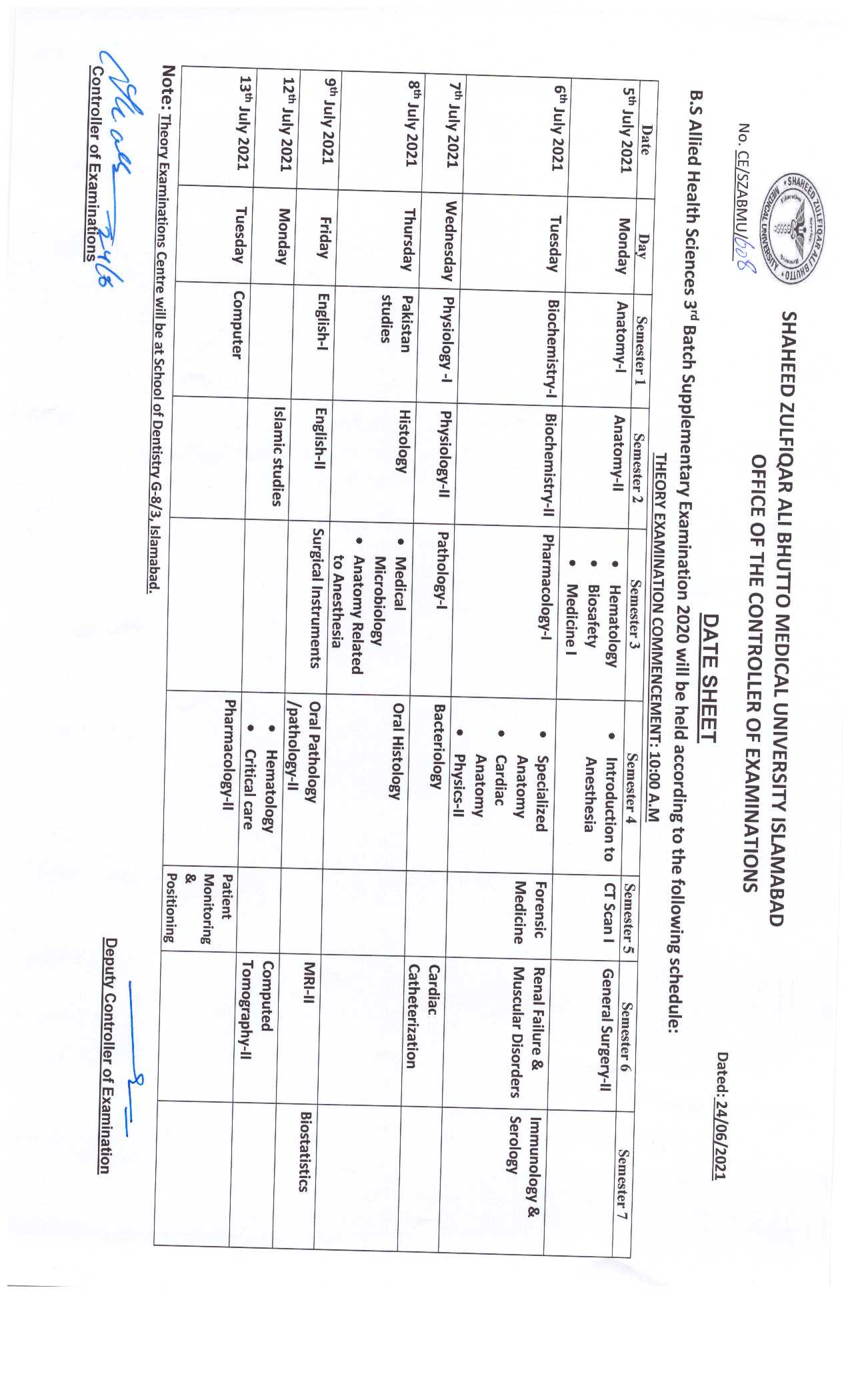 Date Sheet BS Allied Health Sciences 3rd Batch supplementary Examination 2020
