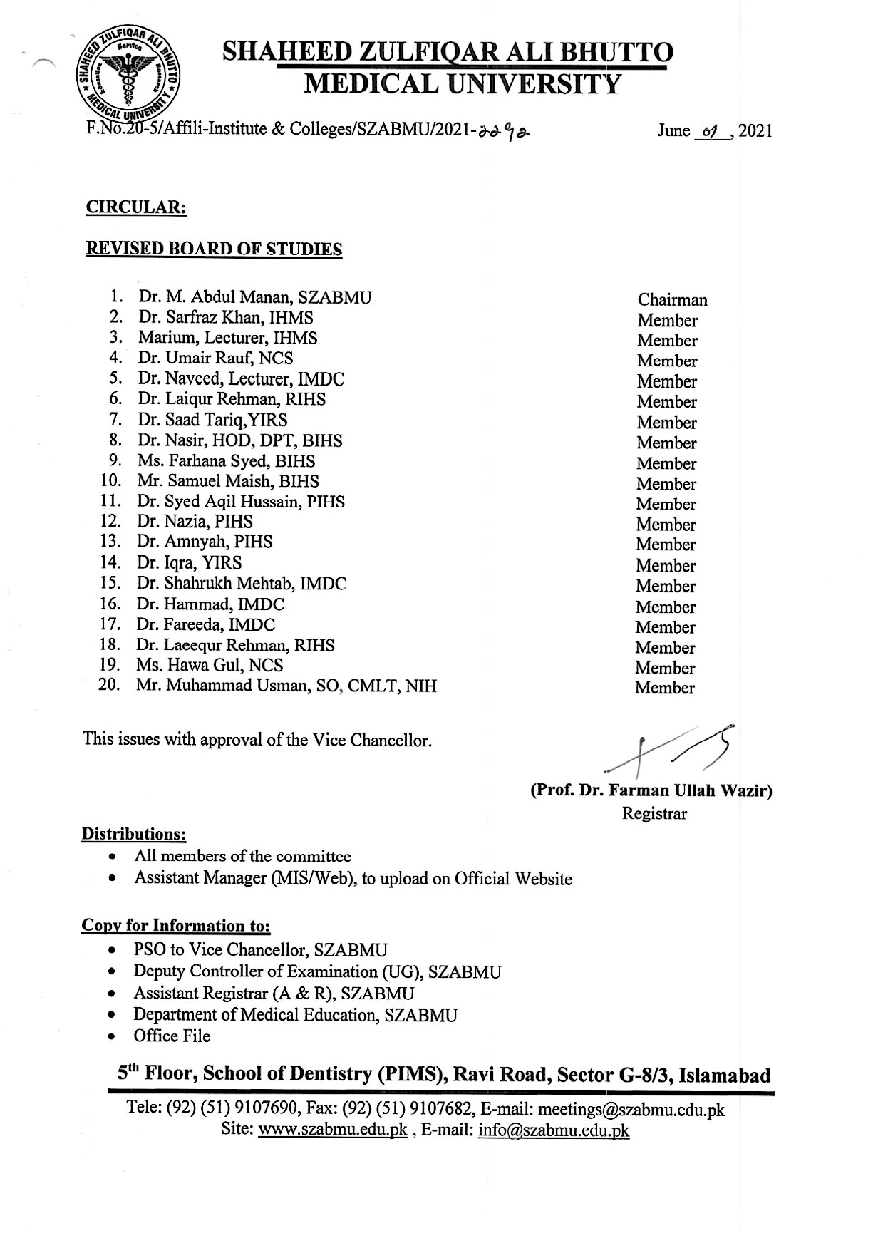 Revised Committees of the Affiliated Institutes of Allied Health Sciences