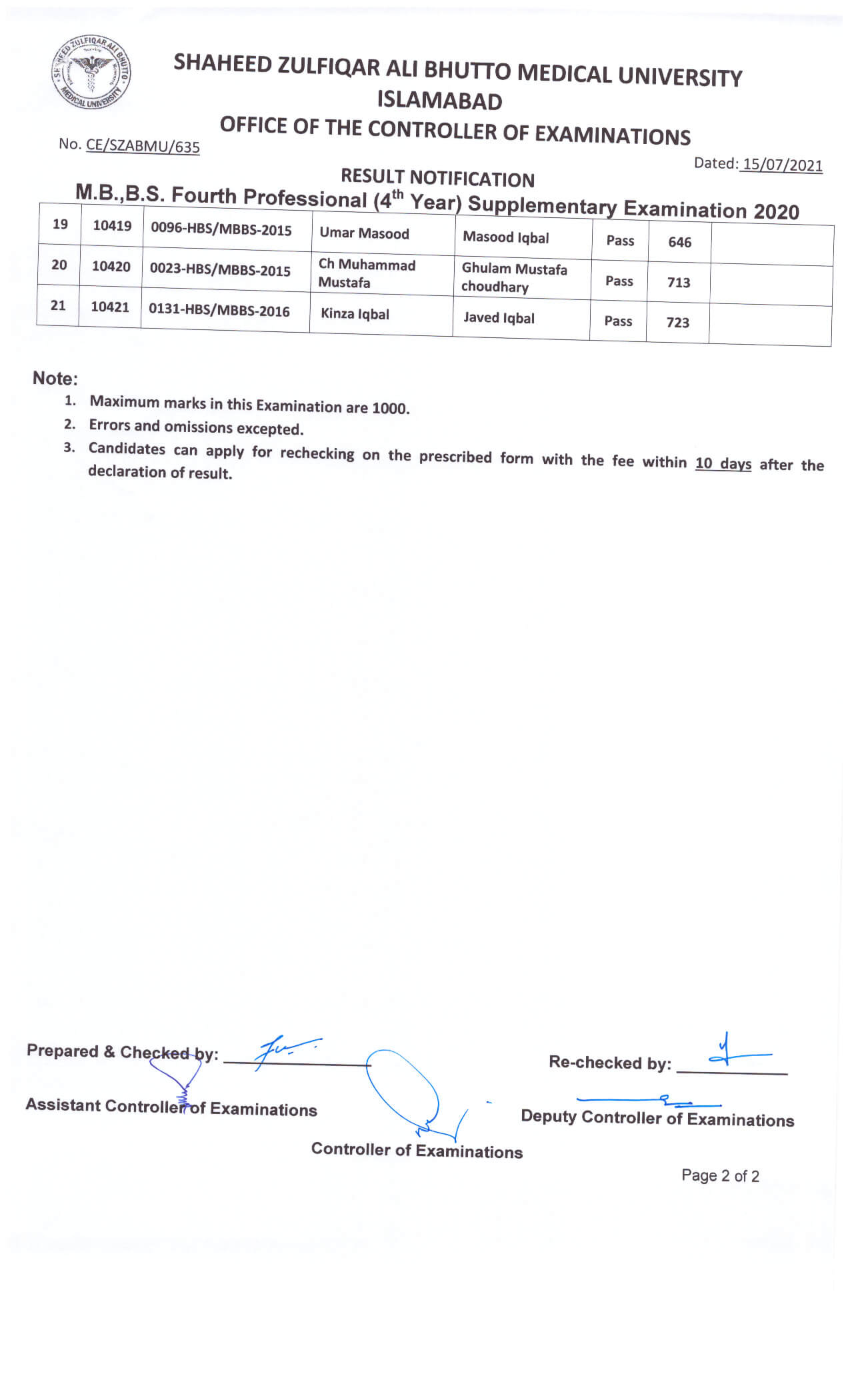 Result Notification - MBBS 4th Professional Supplementary Examination 2020
