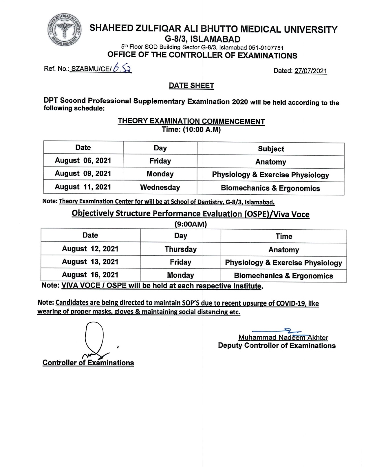 Date Sheet - DPT Supplementary Examination 2020