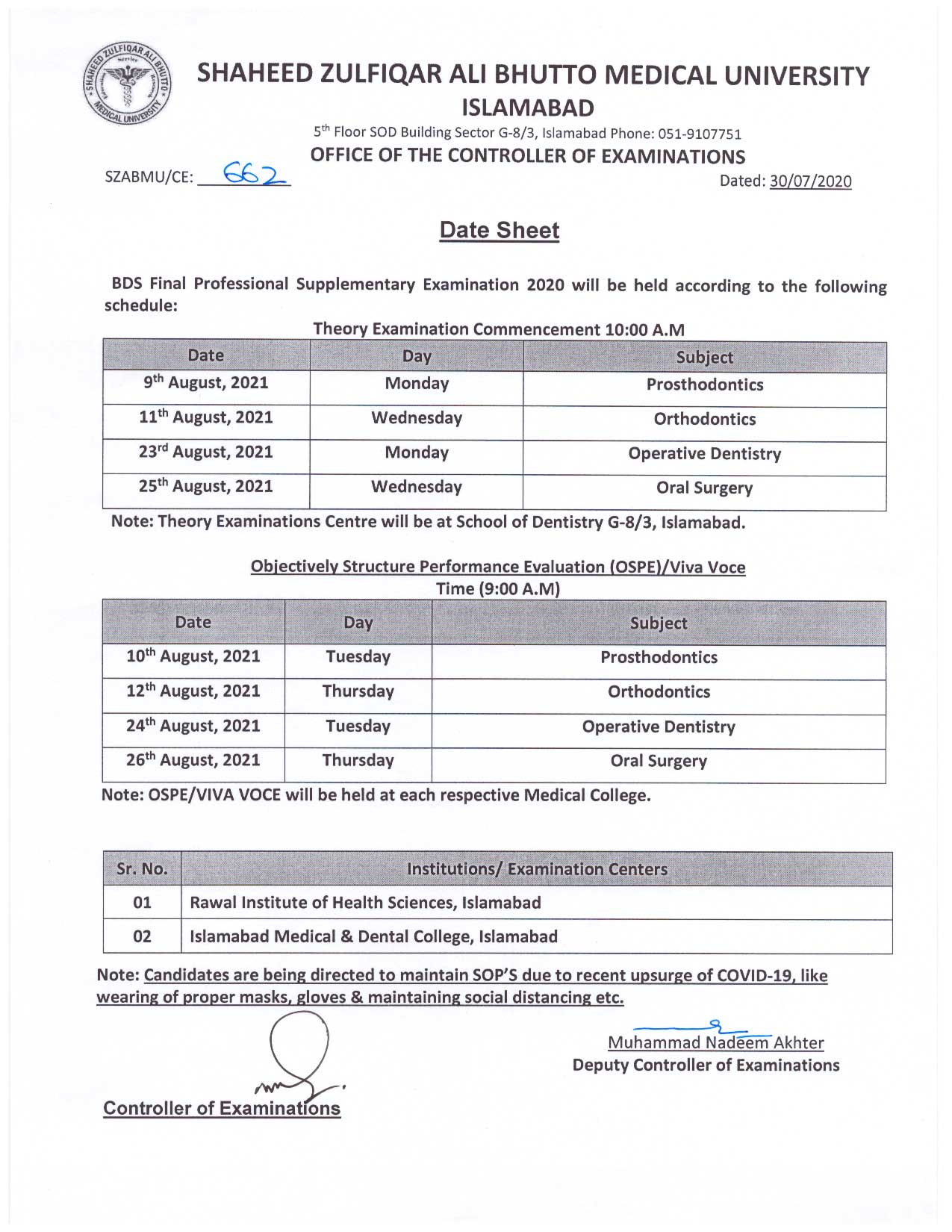 Date Sheet - BDS Final Professional Supplementary Examination 2020
