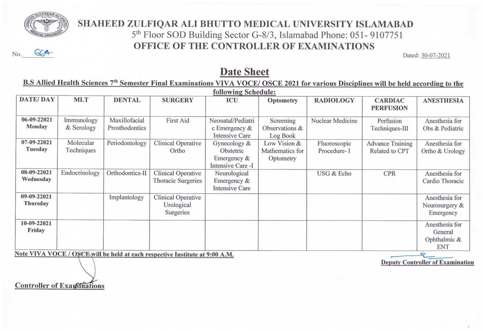 Date Sheet - BS AHS 7th Semester Final Examinations 2021