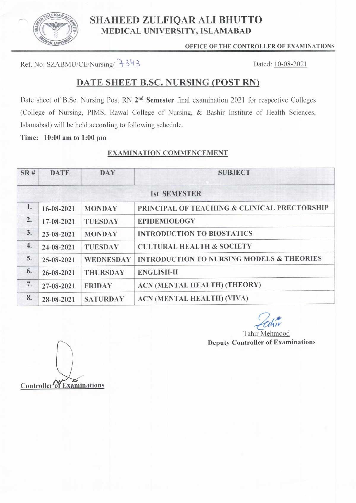 Date Sheet - B.Sc. Nursing Post RN 2nd semester final examination 2021