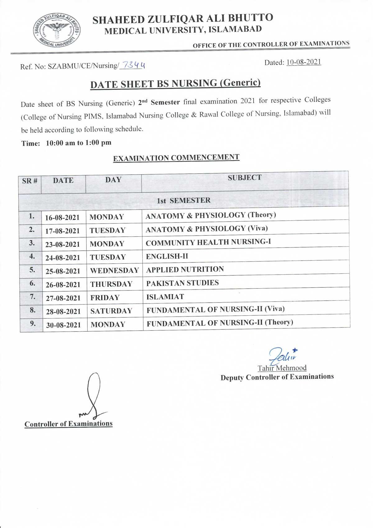 Date Sheet - BS Generic 2nd Semester Final Examination 2021