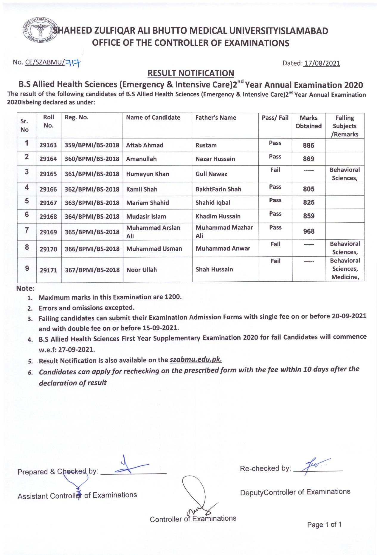 Result Notification - B.S AHS (Emergency & Intensive Care) 2nd Year Annual Examination 2020