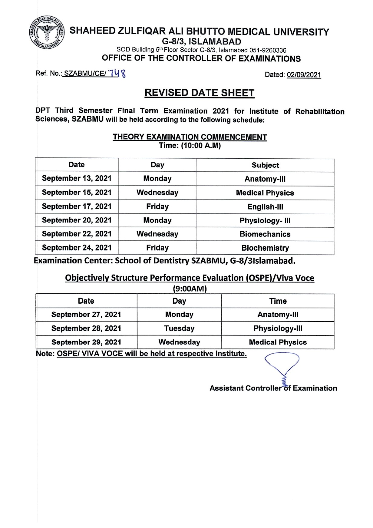 Revised Date Sheet - DPT 1st and 3rd Semester Final Examinations 2021