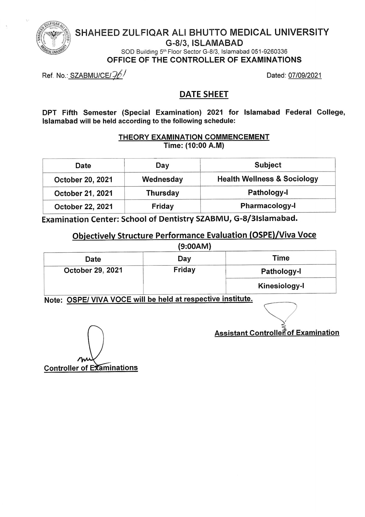 Date Sheet for DPT students of Islamabad Federal College, Islamabad