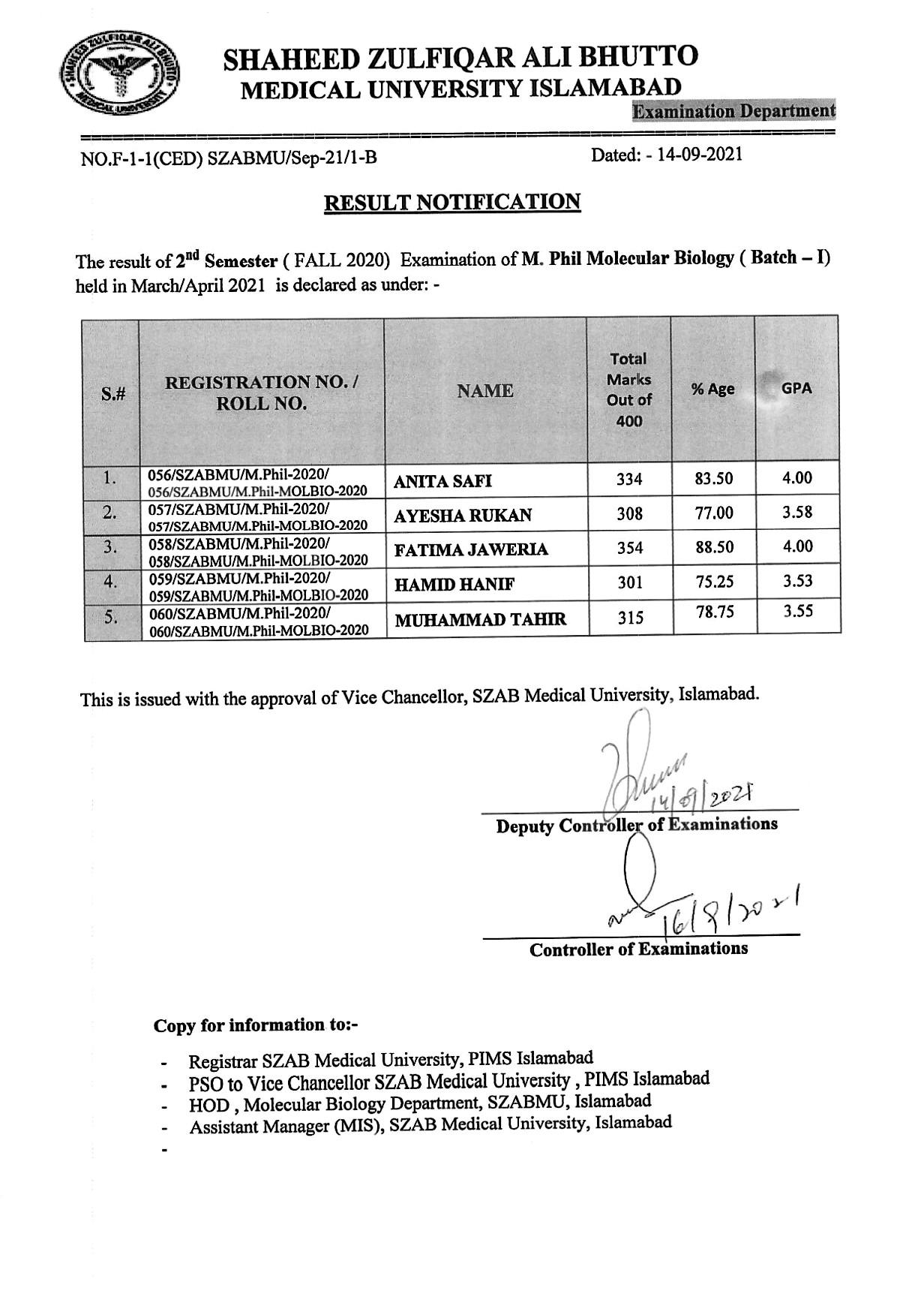 Result Notification - M.Phil. Molecular Biology