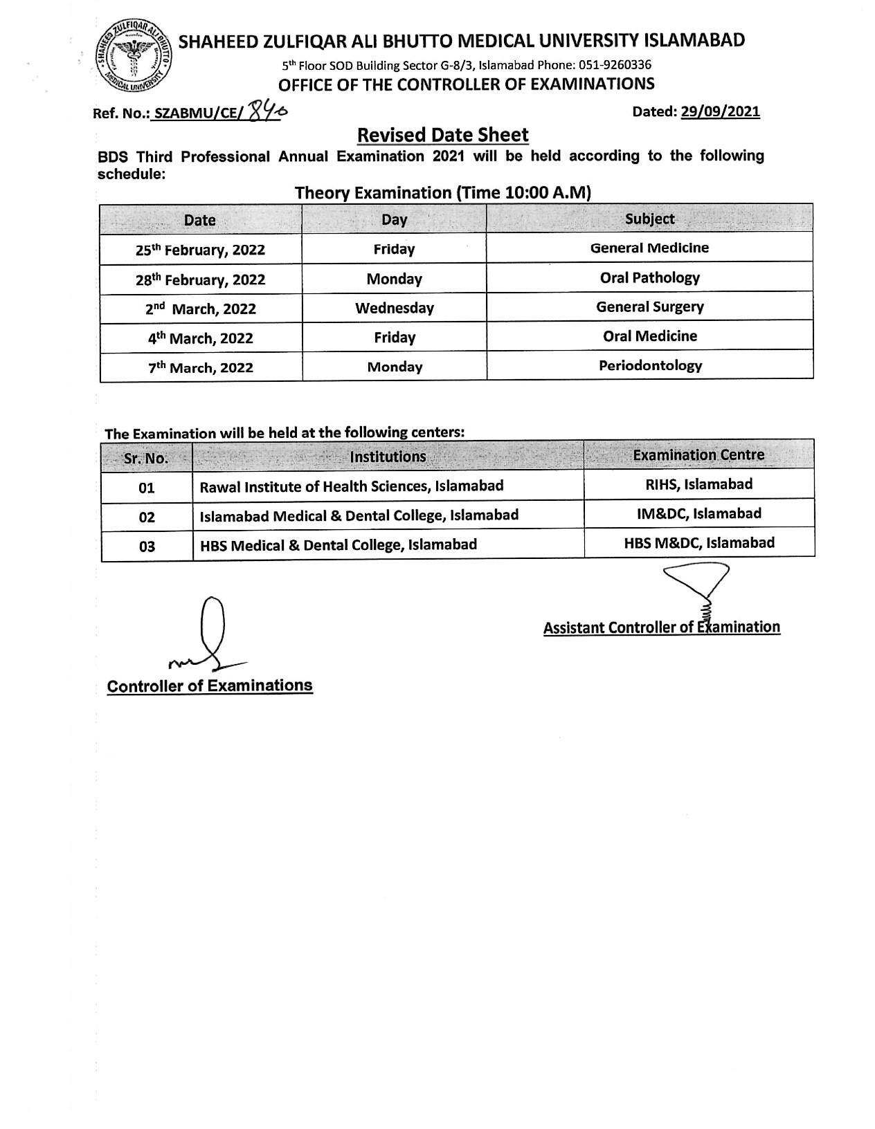 Date Sheet - BDS All Professional Examination 2021