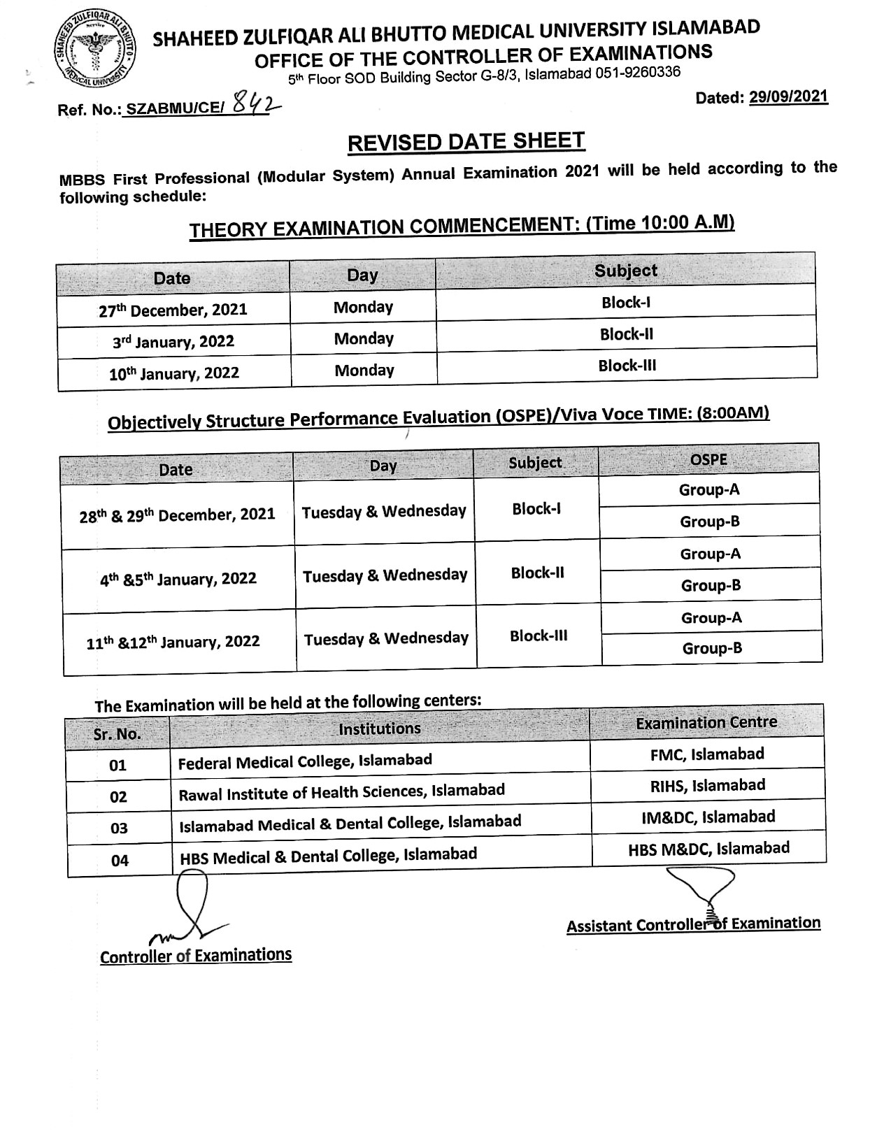 Date Sheet - MBBS All Professional Examination 2021