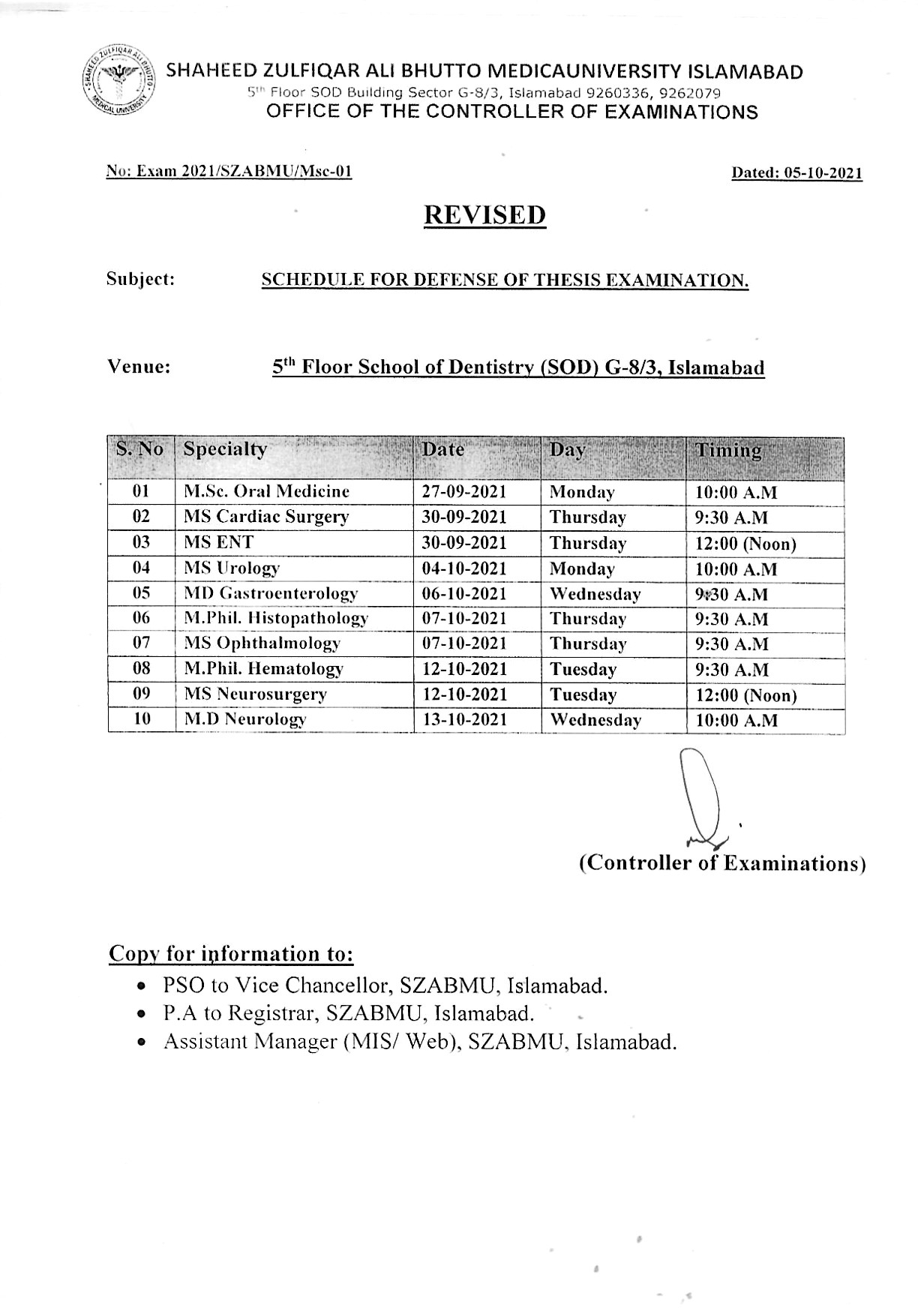 Schedule for defense of Thesis Examination