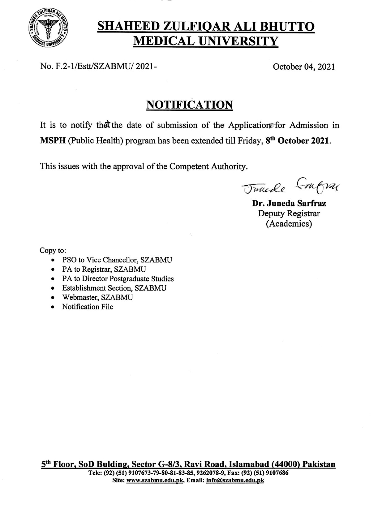 Admission in MSPH (Public Health) Program Date Extended till 08 October 2021