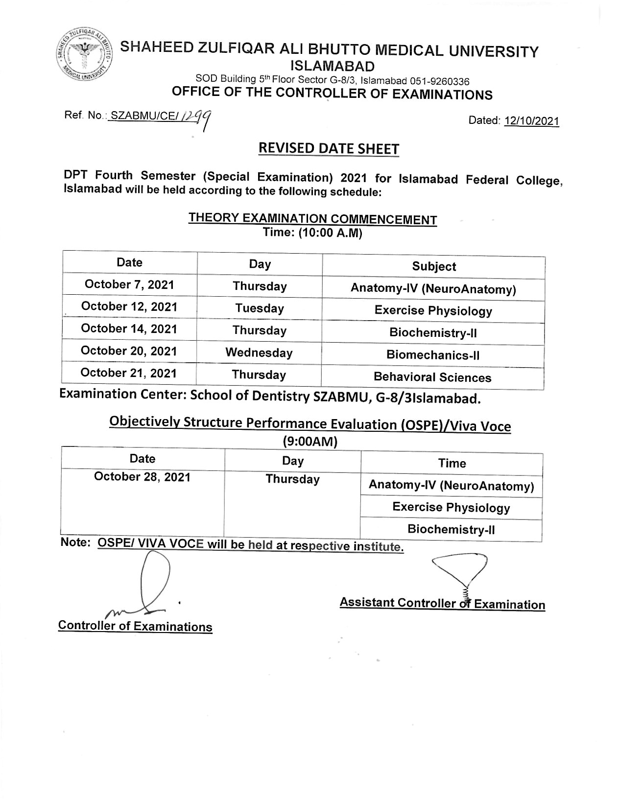 Revised Date Sheet - DPT Fourth Semester (Special Examination) 2021
