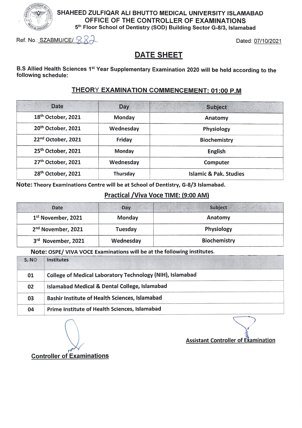 Date Sheet - B.S AHS 1st and 3rd Year Supplementary Examinations 2020