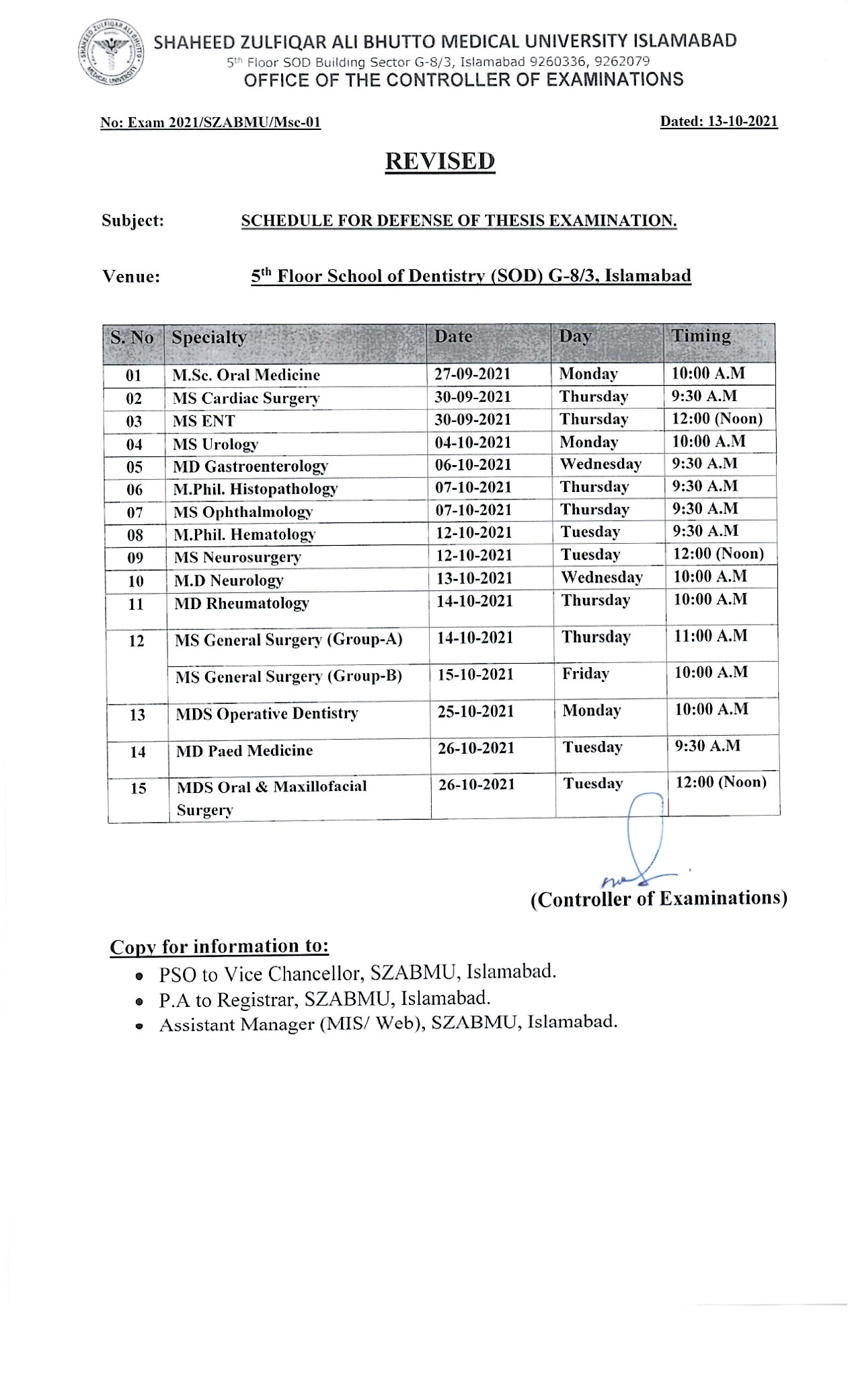 Revised - Schedule for defense of Thesis Examination