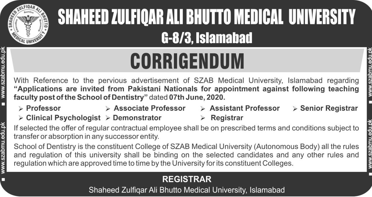 Corrigendum - Teaching Faculty posts of School of Dentistry