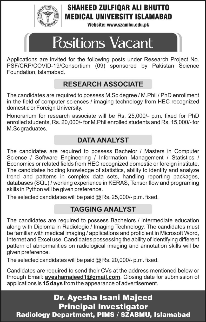 Positions Vacant Research Project