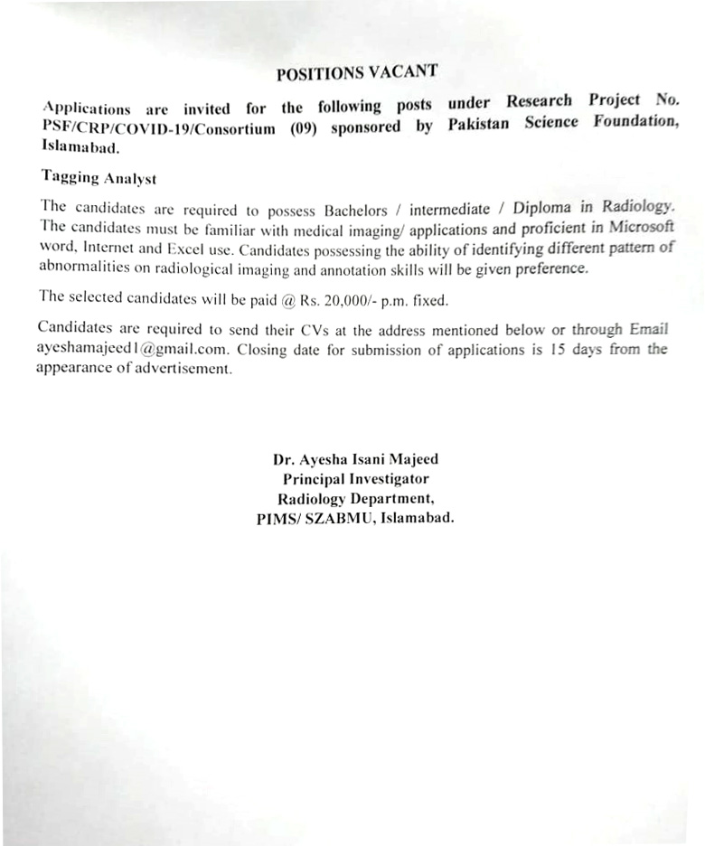 Positions Vacant Research Project sponsored by Pakistan Science Foundation Islamabad