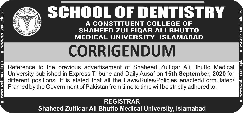 Corrigendum School of Dentistry - Job Opportunity on Contractual Basis