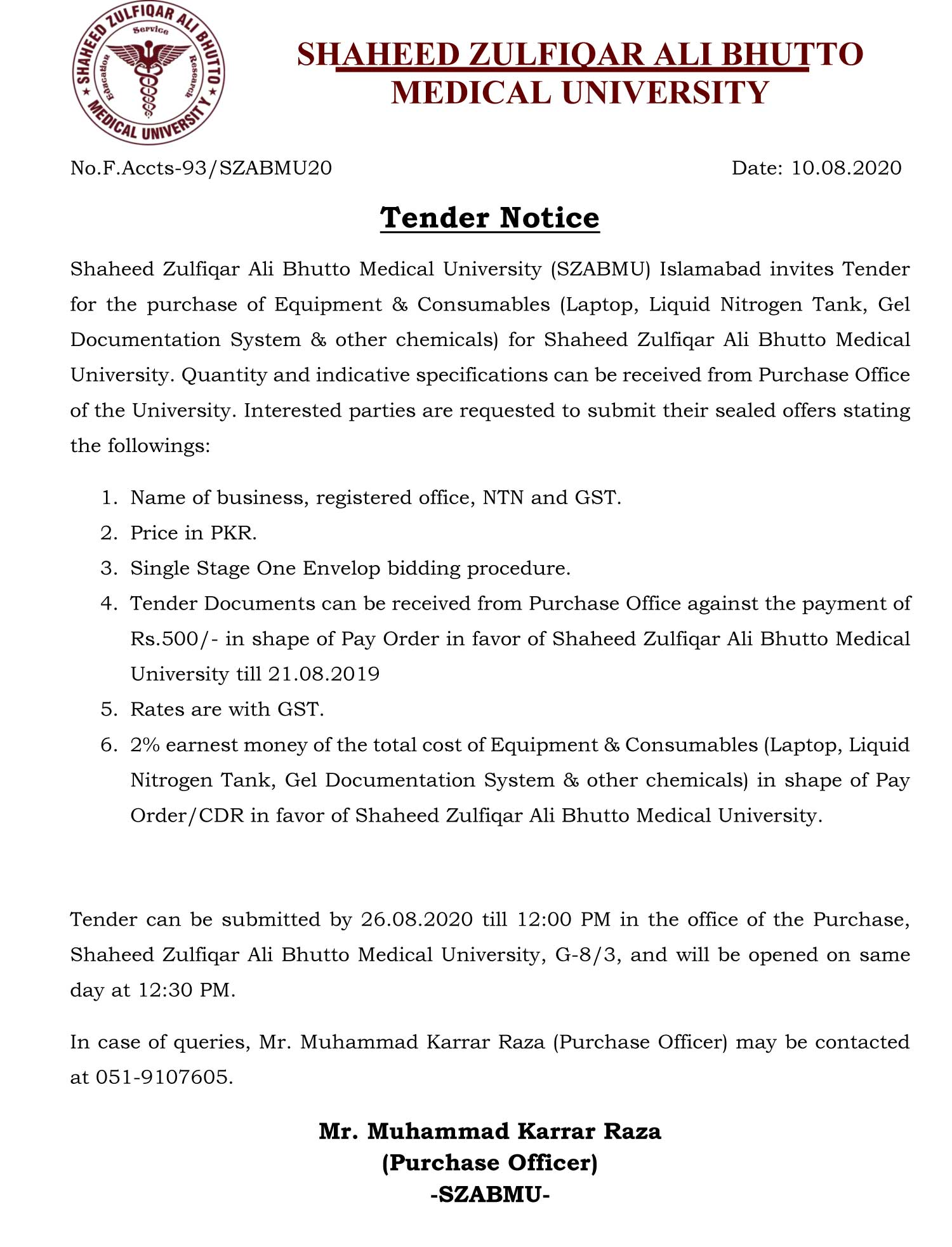 Tender Notice for the purchase of Equipment & Consumables