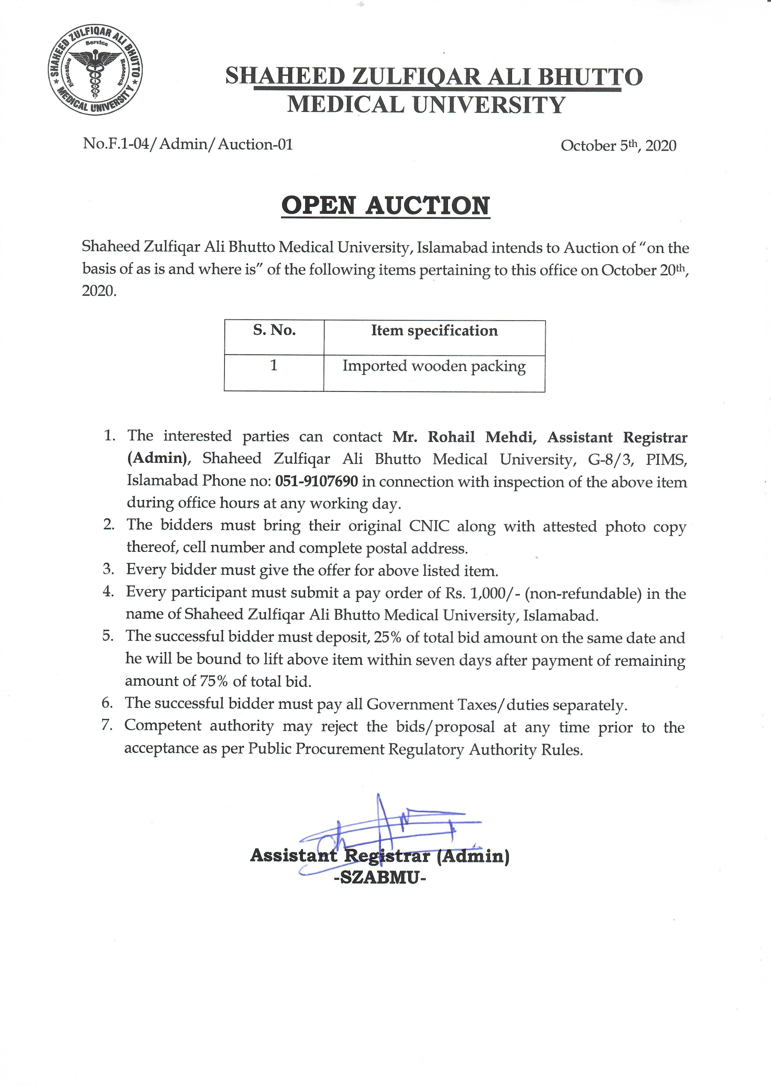 Auction Notice for Imported Wooden Packing