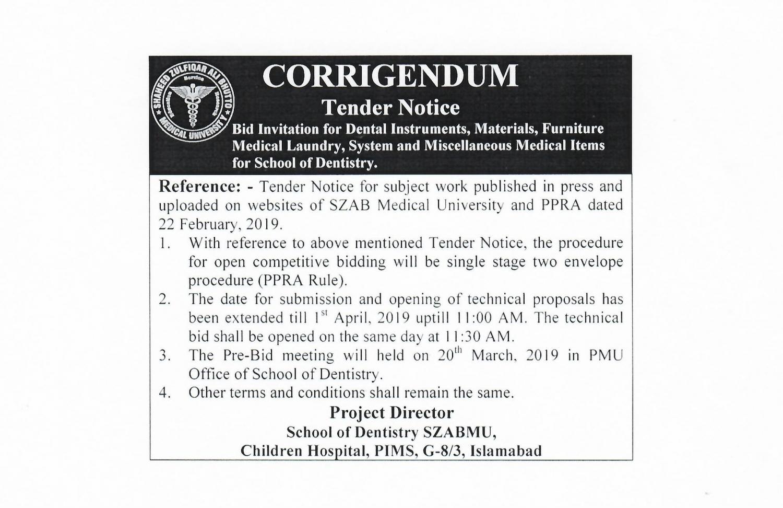 SOD - Corrigendum Tender Notice
