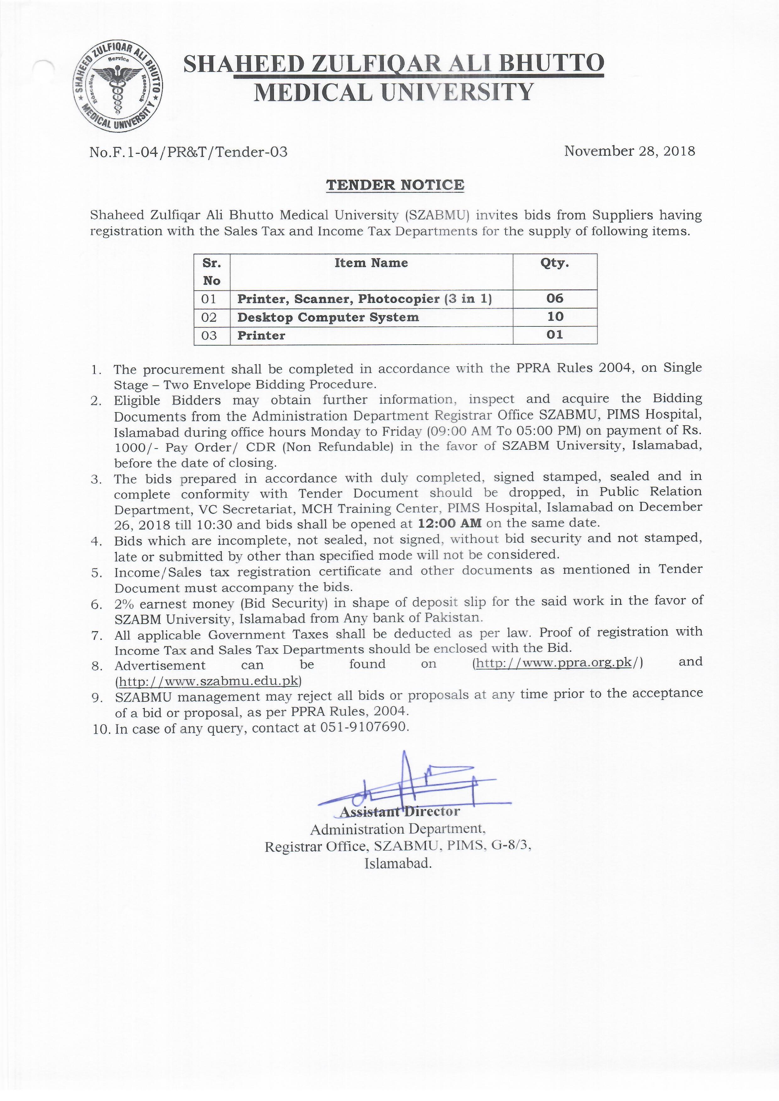 Tender Notice November 2018
