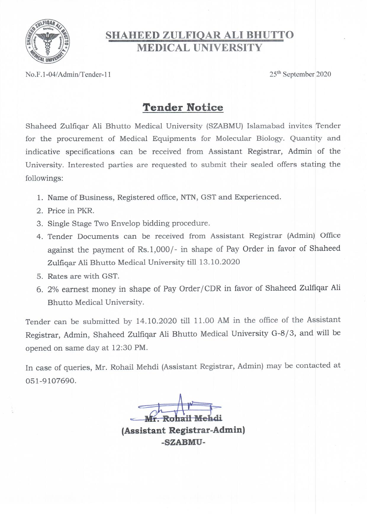 Tender Notice - Medical Equipment for Molecular Biology