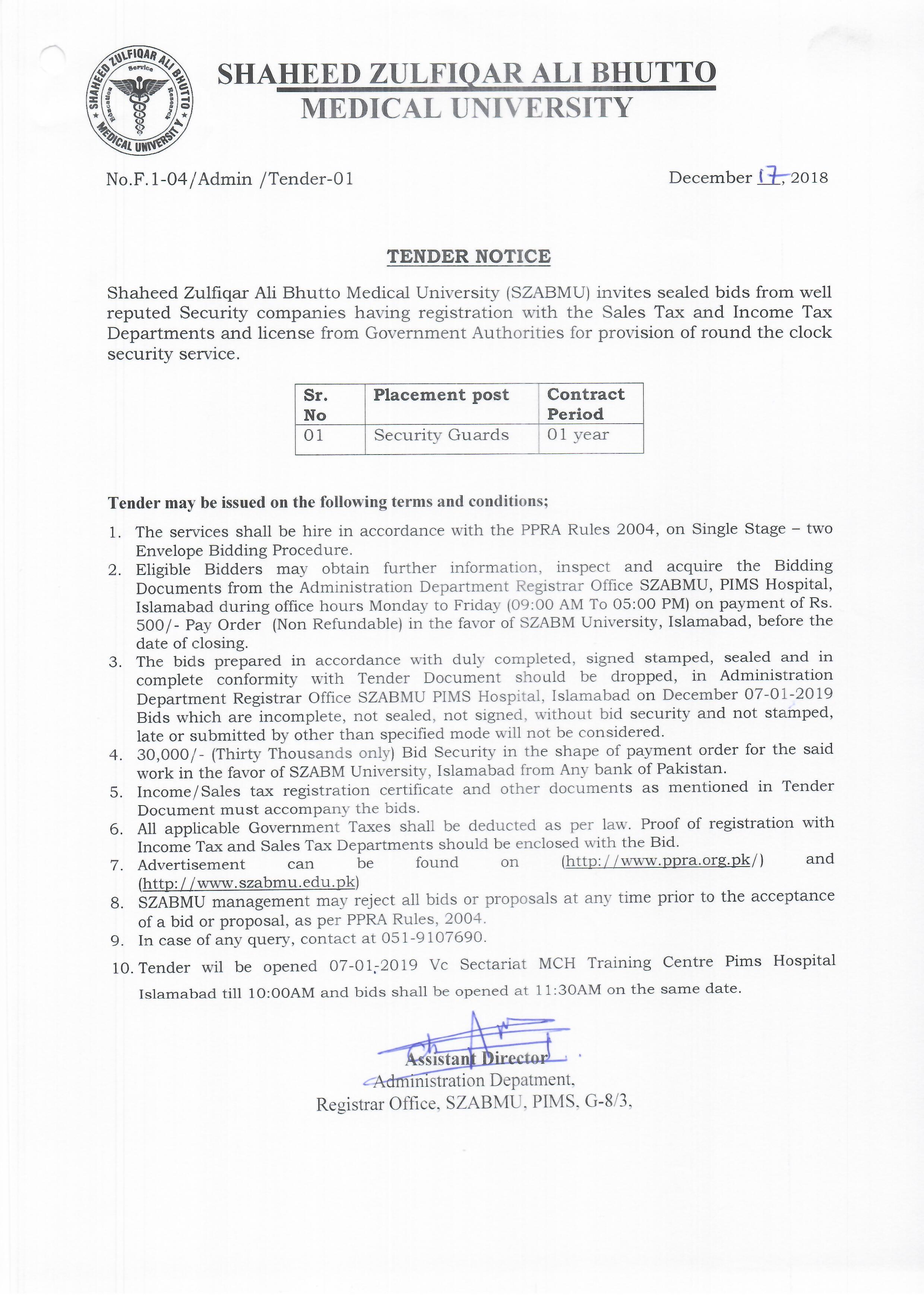 Tender Notice December 2018