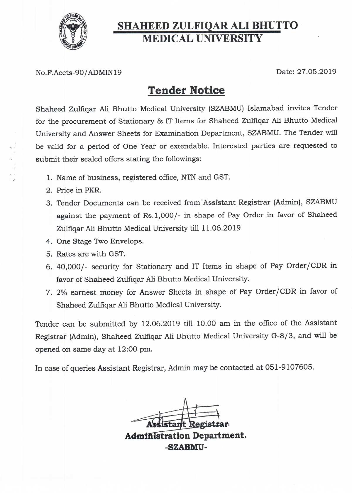 Tender Notice 27 May 2019