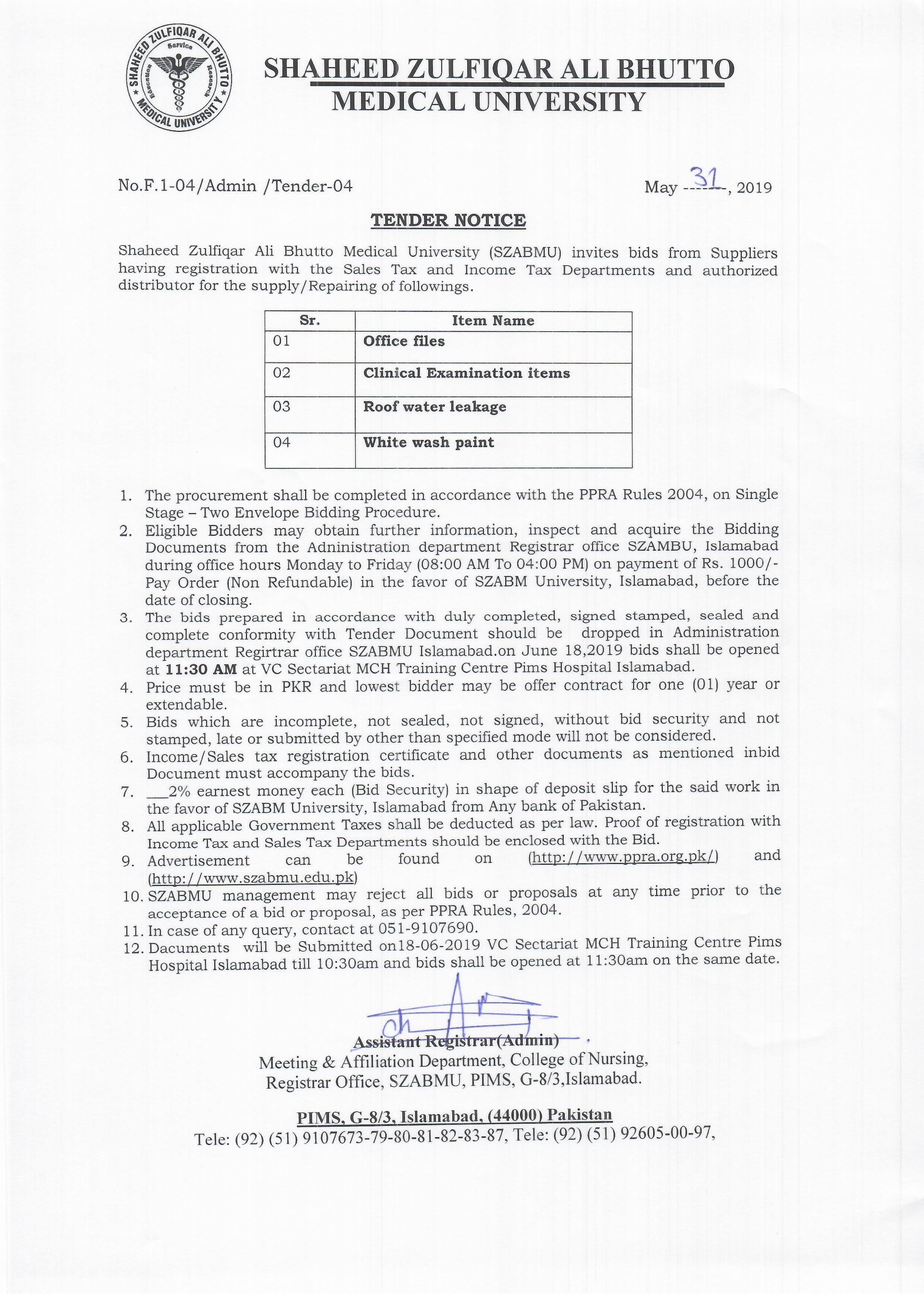 Tender Notice 31 May 2019