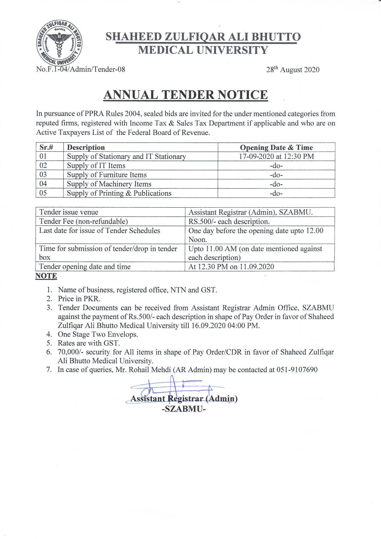 Annual Tender Notice August 2020