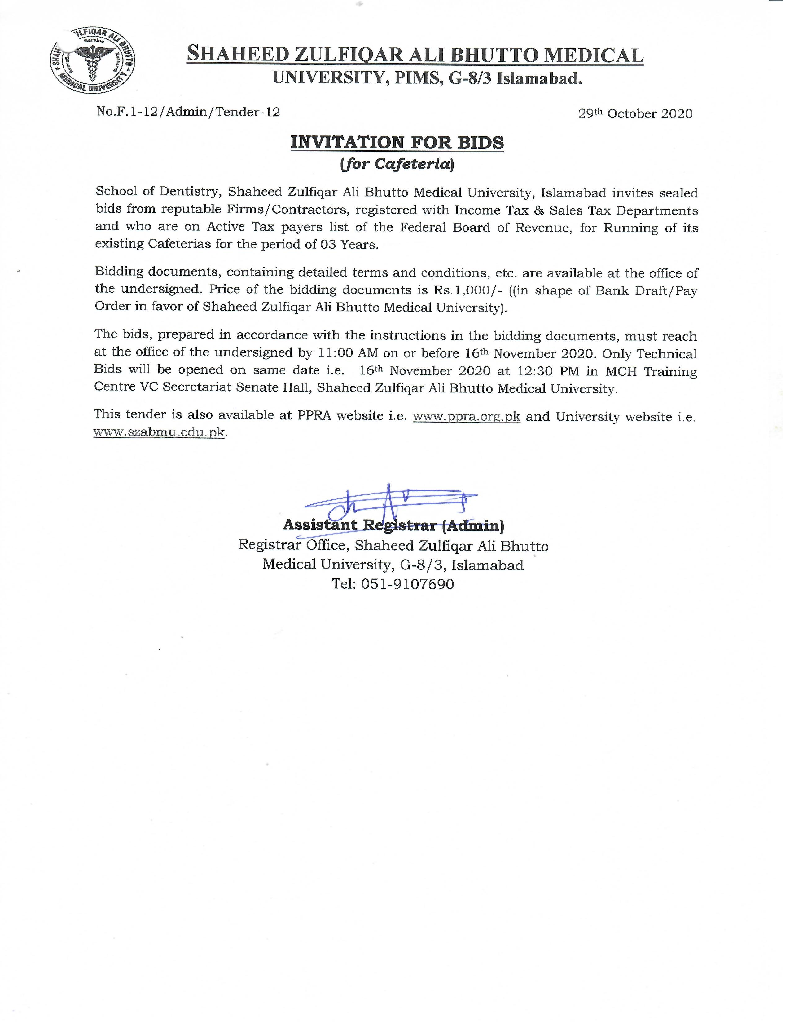 Tender Notice for Cafeteria