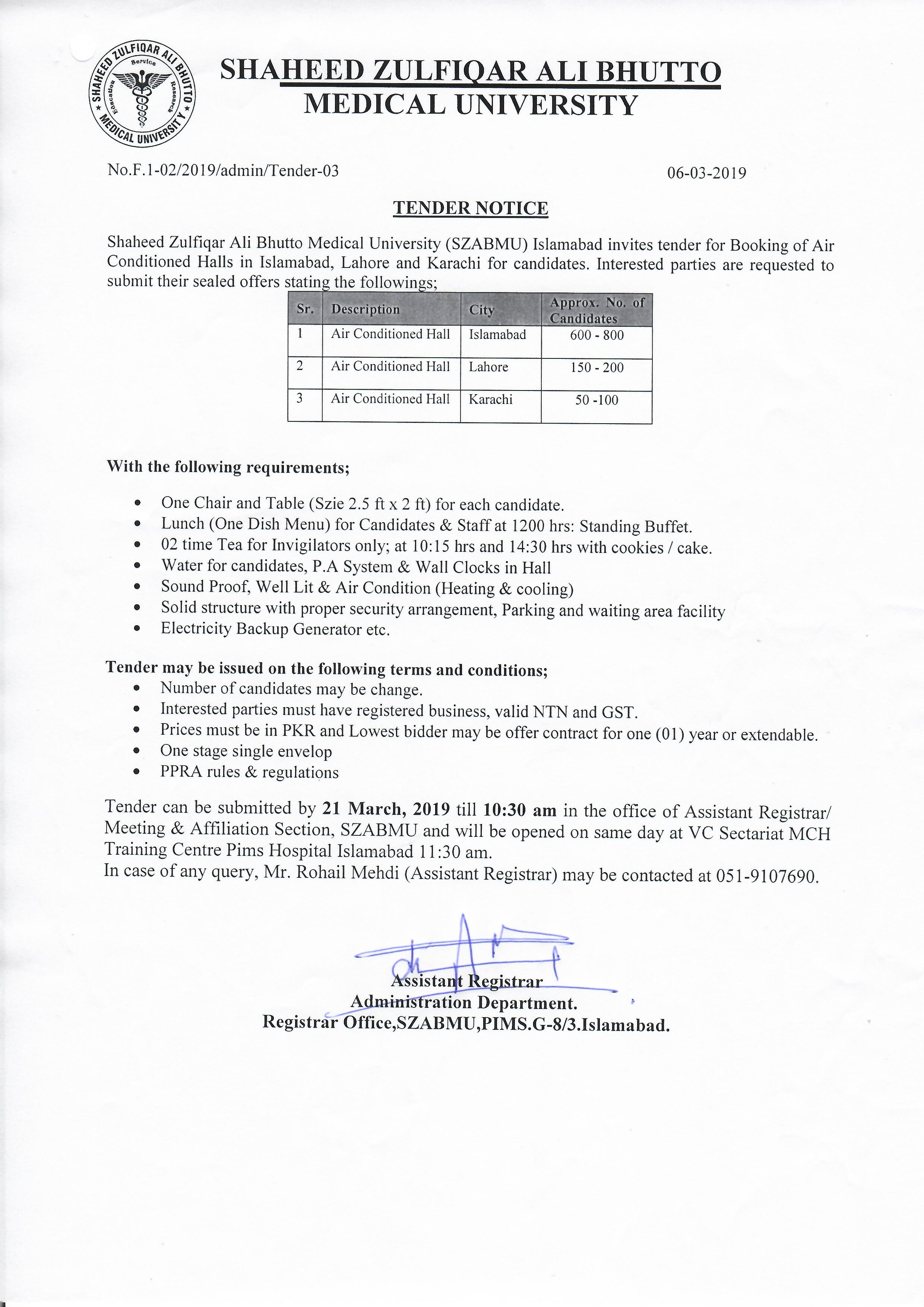 Tender Notice for Booking of Air Conditioned Halls