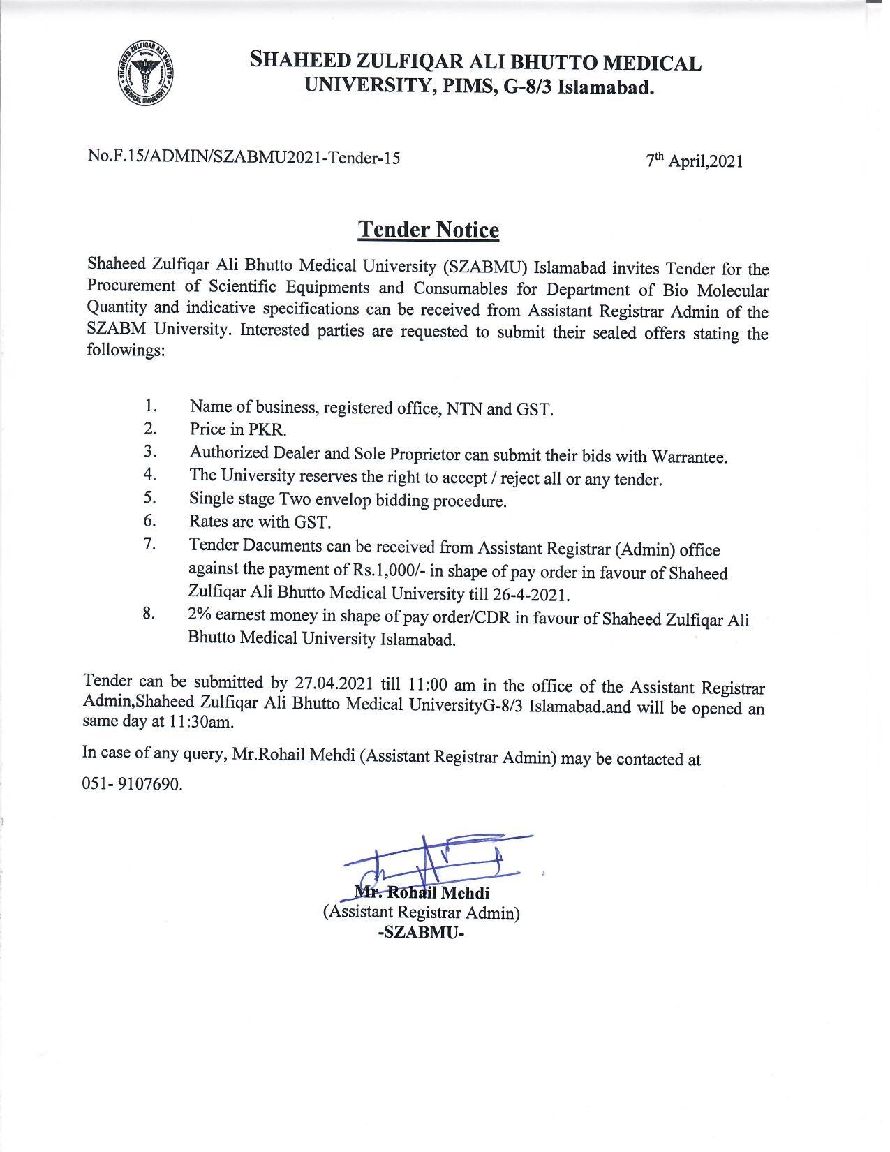 Tender Notice for procurement of scientific equipment
