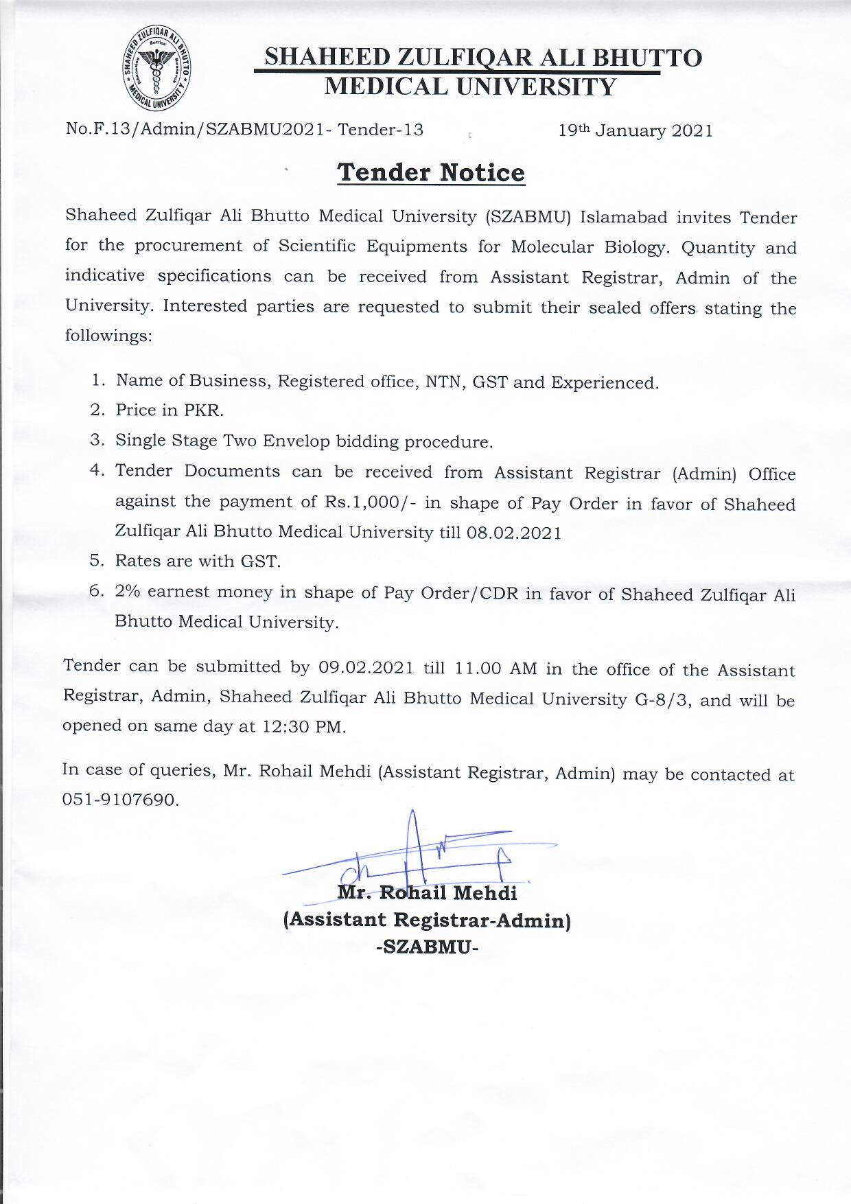 Tender Notice For Molecular Biology
