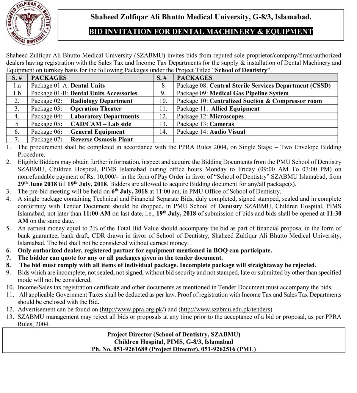 Tender Notice - Bid Invitation For Dental Machinery & Equipment