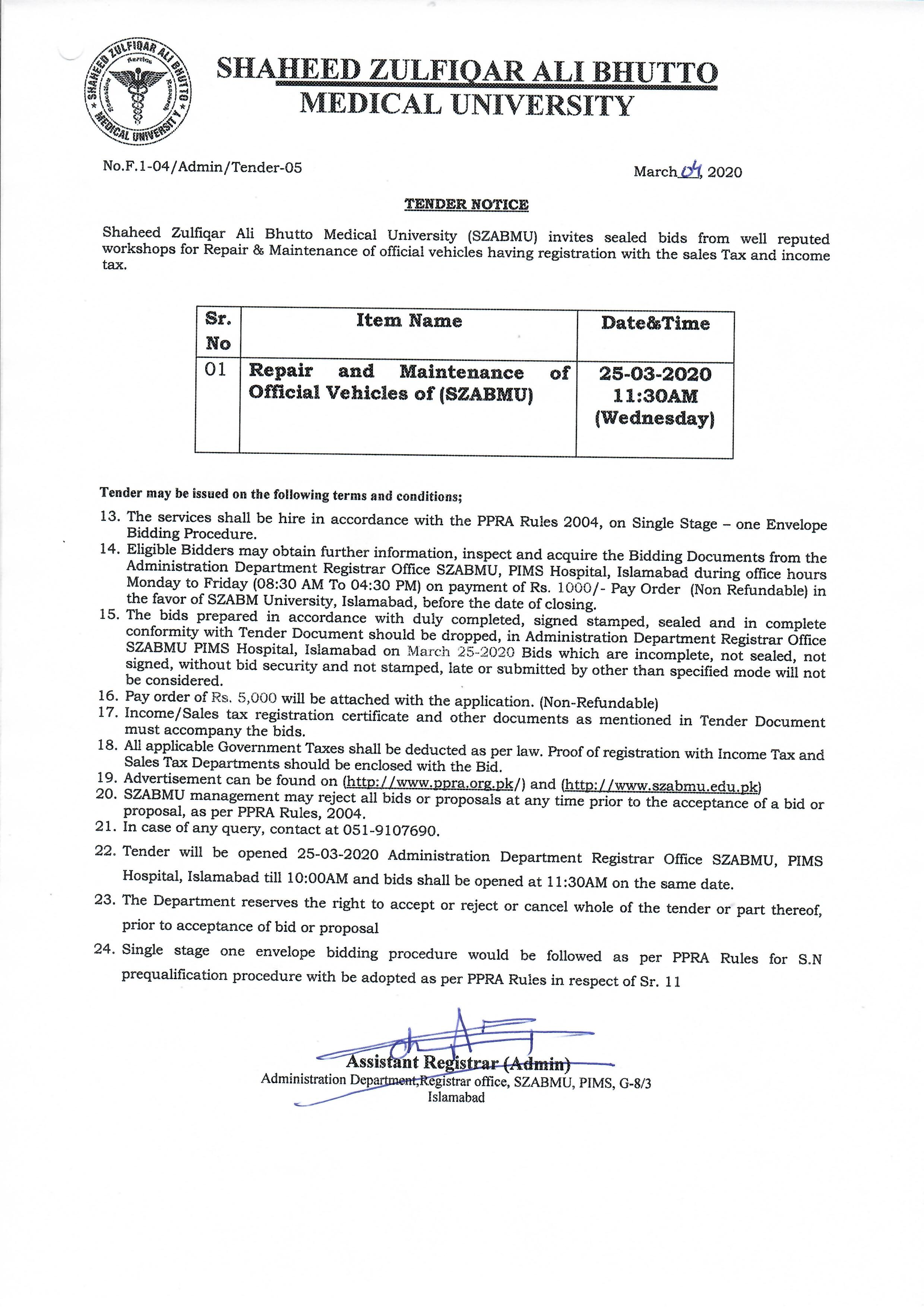 Tender Notice - Repair and Maintenance of Official Vehicles